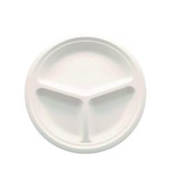 "BioWare 500 Piece 10"" Plate 3-compartment Bagasse Biodegradable"