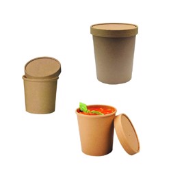 BioWare 500 Piece Kraft soup cups 26oz w/ Lid Biodegradable