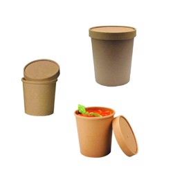 BioWare 500 Piece Kraft soup cups 32oz w/ Lid Biodegradable