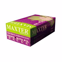 Maxter Latex Gloves Medium White 100pcs Powder Free