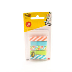 Post-it® Index in Sleeve Dispenser Geos Printed Collection 5 Packs of 20 Sheets 11.9 mm x 43.2 mm -Multicolor