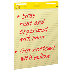 Post-it® Easel Pad, 25 in x 30 in sheets, Yellow Paper with Lines, 30 Sheets/Pad, 2 Pads/Pack