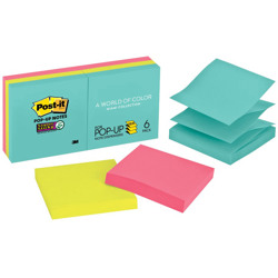 Post-it® Super Sticky Pop-up Notes R330-6SSMIA, 3 in x 3 in, Miami collection, 6 Pads/Pack, 90 Sheets/Pad -Multicolor