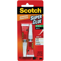Scotch® Super Glue Gel AD112, .07 oz, 2-Pack -White