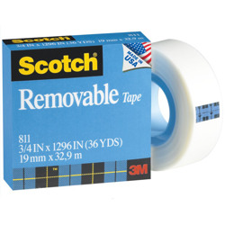 Scotch® Removable Tape 811, 3/4 in x 1296 in, Transparent