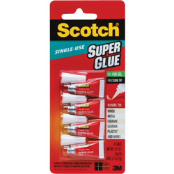Scotch® Super Glue Gel AD119, 4-Pack of single-use tubes, .017 oz each -White