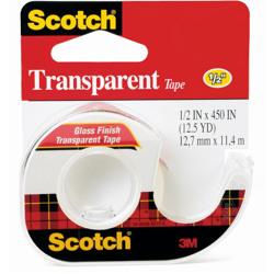 Scotch® Transparent Tape 144, 1/2 in x 450 in -Transparent