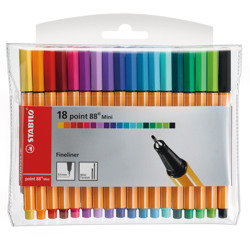 Stabilo Fineliner Point 88 Mini Wallet Of 18 Assorted Colours