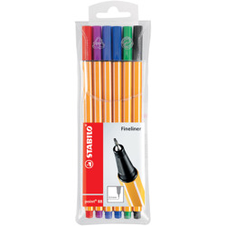 Stabilo Fineliner Point 88 Wallet Of 6 Assorted Colours