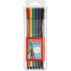 Stabilo Pen 68 Premium Felt-Tip Pen - Wallet Of 6 Colours
