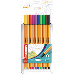 Stabilo Fineliner Point 88 Wallet Of 10 Assorted Colours