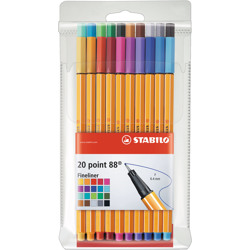 Stabilo Fineliner Point 88 Wallet Of 20 Assorted Colours