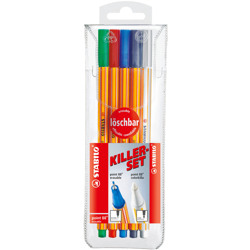 Stabilo Fineliner Point 88 Colorkilla Set 4Pcs Erasable + 1 Pcs Colorkilla
