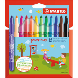 Stabilo Felt Tip Pen Power Max Wallet Of 12 Assorted Colours