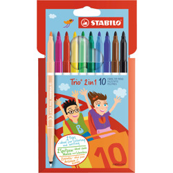 Stabilo Felt Tip Pen Trio 2 In1 Wallet Of 10 Assorted Colours