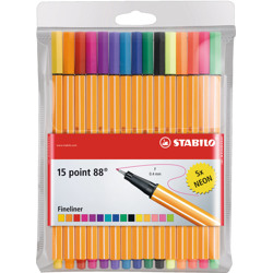 Stabilo Fineliner Point 88 Wallet Of 15 Assorted Colours Incl 5 Neon Colours