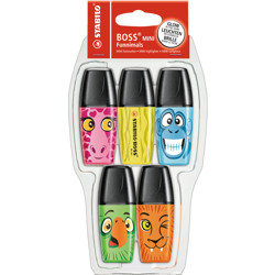 Stabilo Highlighter Boss Mini Funnimals Pack Of 5 Assorted Colours
