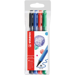 Stabilo Nylon Tip Writing Pen Pointmax Wallet Of 4 Assorted Colours (Black, Red, Green'''',Blue)