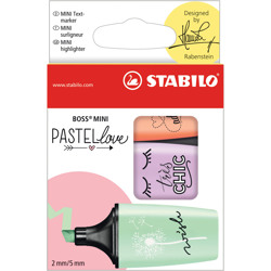 Stabilo Highlighter Boss Mini Pastellove Wallet Of 3 Assorted Colours (Green, Purple, Orange)