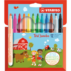 Stabilo Felt Tip Pen Trio Jumbo Wallet Of 12 Assorted Colours