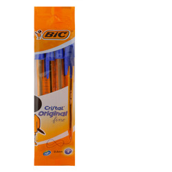 Bic Cristal Original Fine Ballpoint Pens Blue 4 Pack