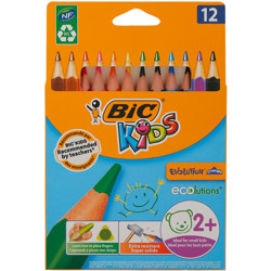 Bic Kids Evolution Triangle Ecolutions Triangular Colouring Pencils - Assorted Colours, Pack Of 12