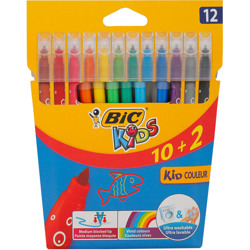 Bic Visa Felt Pens Assorted Colors (10 + 2 Pcs)