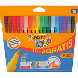 Bic Kids Visa Fine Felt Tip Pens - Assorted Colours, Pack Of 15+3