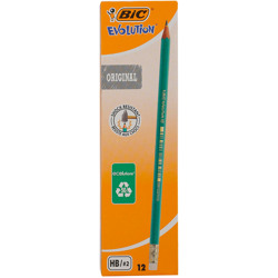 Bic Evolution Original Hb Graphite Pencils With Eraser End - Box Of 12