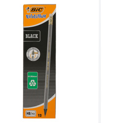 Bic Evolution Black Hb Graphite Pencils With Eraser End - Box Of 12