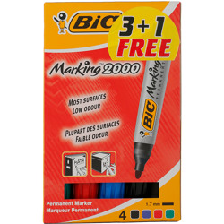 Bic Conical Eco 2000 Permanent Markers Assorted Blister (3+1)