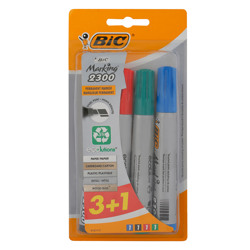 Bic Chisel Eco 2300 Permanent Marker Assorted (3+1)