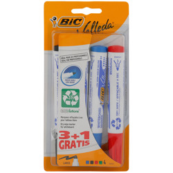 Bic Velleda 1701 Ecolutions Whiteboard Pens Medium Bullet Tip - Assorted Colours, Pack Of 3+1