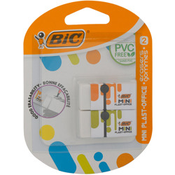 Bic Mini Plast-Office Erasers - Orange And Green Sleeves, Pack Of 2