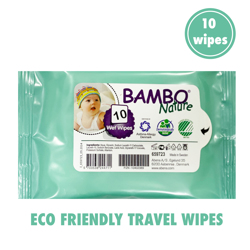 Bambo Nature Eco-Friendly Travel Wipes - 10s
