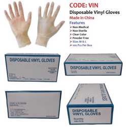 Disposable Vinyl Gloves Medium Clear 100 Pcs/Box Powder Free preview