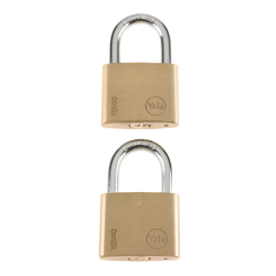 Yale YE1/40/122/2 Brass Padlock, 40mm, Pack of 2 - Grey