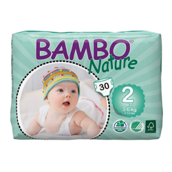 Bambo Nature Eco-Friendly Diapers, Size 2, 3-6kg (30 diapers)