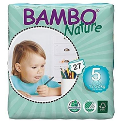 Bambo Nature Eco-Friendly Diapers, Size 5, 12-22 kg (27 diapers)