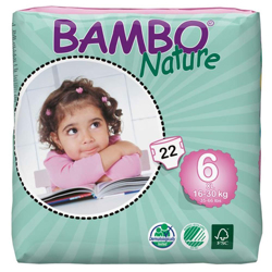Bambo Nature Eco-Friendly Diapers, Size 6, 16-30kg (22 diapers)