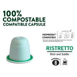 Boncafe 100% Compostable Nespresso Compatible Coffee Capsules - Ristretto (180 Capsules) preview