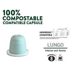 Boncafe 100% Compostable Nespresso Compatible Coffee Capsules - Lungo (180 Capsules)