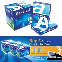 Double A A4 (3 Box + 6 PCs Stapler 26/6) Bundle Offer