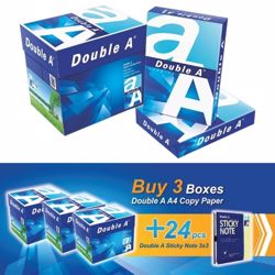 Double A A4 (3 Box + 24 PCs 3*3 Sticky Notes) Bundle Offer