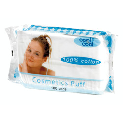 Cool & Cool Cotton Cosmetic Puffs (100 Pads)