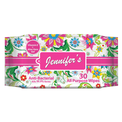 Jennifer's Floral Anti Bacterial Wipes - 30 sheets