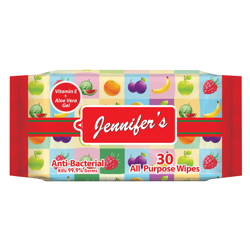 Jennifer's Fruity Anti Bacterial Wipes - 30 sheets