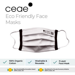 Ceae 100% Organic Product Cotton Reusable Cloth Face Mask - White (2pcs/Box)