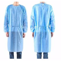 Disposable Isolation Gown 30GSM SS - Non Woven (Rib at Cuff) - Medical Blue