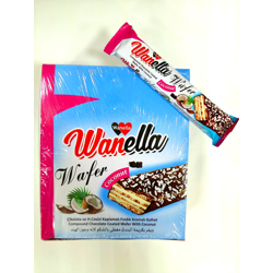 Wanella Wafer Coconut Chocolate Coated Wafer With Coconut - 35gm (Pack Of 24)